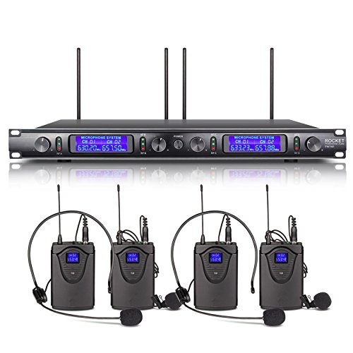 Xtuga EW240 UHF Rocket Audio 4 Channel Wireless Microphone System UHF Wireless Microphone System metal receiver with 4 bodapack for Stage Church Use for Family Party, Church, Small Karaoke Night by Rocket Audio