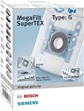 Bosch Megaair Super Tex Type G Vacuum Bag, 4 L Capacity and includes a Micro Hygiene Filter for the Motor - Pack of 4
