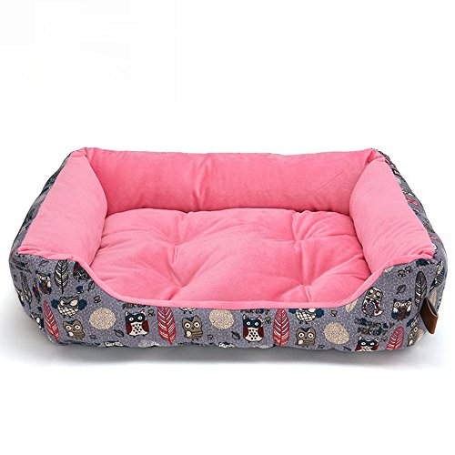Yiuu Deluxe Soft Washable Dog Pet Warm Basket Bed Cushion with Dog Bed Cat Bed for Small Medium & Large Dogs,Pink,L -