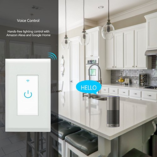Wifi Smart Switch, Wifi Light Switch 2 Packs, Works with Amazon Alexa and Google Home, App Remote Control with Timing Funtion, No Hub Required (Neutral Wire Required) by Lesim (Image #1)