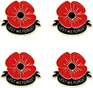 KENYG 4 PCS Pack Red Poppy Flower Brooch Lest WE Forget for Women Men Remembrance Gift Clothing Accessories