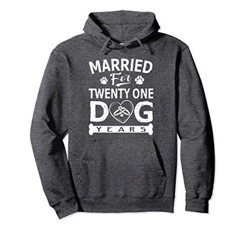 Unisex 3rd Anniversary Hoodie Married For 21 Dog Years Gift XL: Dark Heather