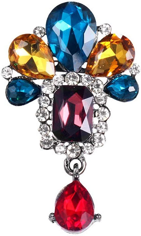 DDLKK Womens Colorful Diamond Crystal Pendant Jewelry Clothing Jewelry Ms Womens Accessories Alloy Plating Exquisite Fashion