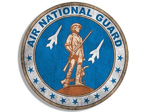 Vintage Flag Round Sticker - GHaynes Distributing VINTAGE Round AIR NATIONAL GUARD Seal Sticker Decal (logo old us distressed) 4 x 4 inch