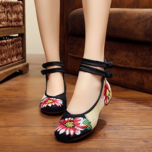 bordados lenguado c¨®modo estilo ¨¦tnico GuiXinWeiHeng tend¨®n del moda aumento casual Zapatos de tela del dentro zapatos black femenina xiuhuaxie SnxxRwB