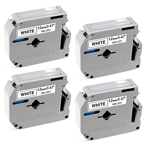 Compatible Brother M Tape 12mm M231 MK231 M-K231 Black on White Compatible with Brother P Touch Label Makers PT-90 PT-M95 PT-70BM PT-65 PT-85 PT-45 (0.47 Inch x 26.2 Feet), - Brother Tape 12mm Label Maker