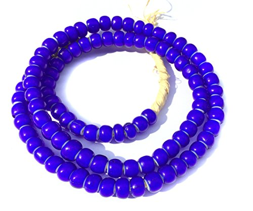 Cobalt Blue White heart glass trade beads (Millefiori Heart Blue)