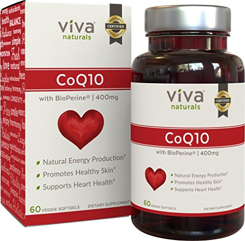 Viva Naturals CoQ10 Supplement with BioPerine (400mg)  60 Vegetarian Softgel