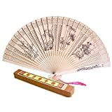 Chinese Hand Sandalwood Fan With Plum Blossoms, Orchid, Bamboo And Chrysanthemum