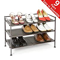 Seville Classics 3-Tier Stackable 9-Pair Woodgrain Resin Slat Shelf Sturdy Metal Frame Shoe Storage Rack Organizer