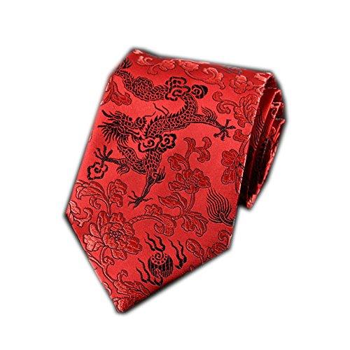 Men's Chinese Dragon Silk Tie Best Collection Necktie Neckwear Red Dragon ()