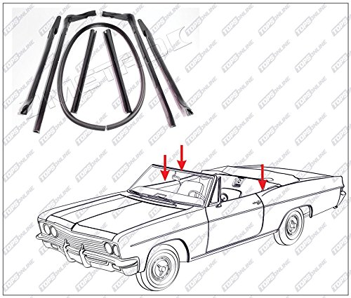 1965 Cadillac Deville & Eldorado--7 Piece Convertible Top Frame Weather Seals Kit