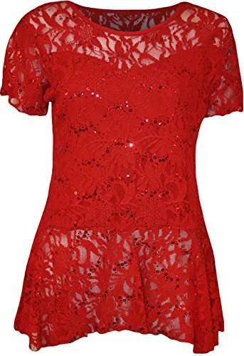 (New Womens Plus Size Lace Sequin Ladies Short Sleeve Peplum Frill Top 14-28)