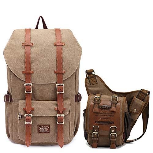 KAUKKO Travel Laptop Outdoor Backpack, School backpack 丨KAUKKO Canvas Shoulder Messenger Bag