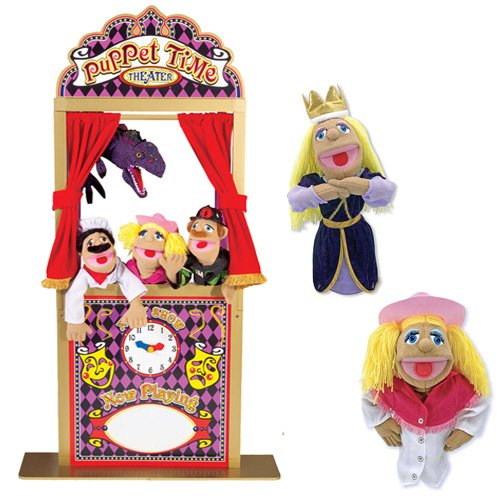 Melissa & Doug Deluxe Puppet Theater Bundle with Cowgirl and Princess (Floor Puppet Theater)