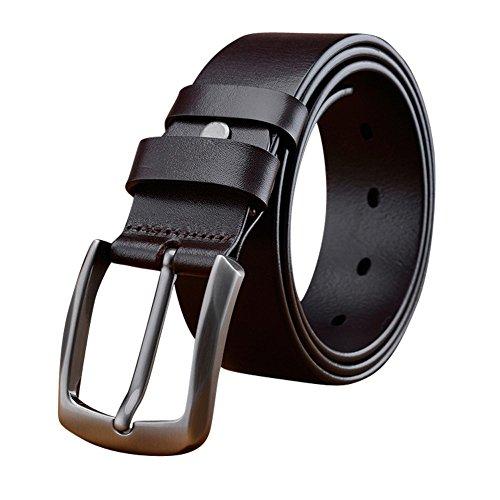 Yeahtope Mens Dress Belt Genuine Leather Edge Buckle Black Tan Enclosed In An Elegant Gift Box  34 39 In  110Cm   Black