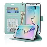 Samsung Galaxy S6 Edge Wallet Folio Leather Case with Four Card Pockets & Money Slot, Removable Strap - Navor (Mint)