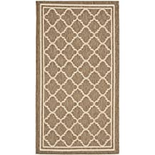 "Safavieh Courtyard Collection CY6918-242 Brown and Bone Indoor/ Outdoor Area Rug, 2 feet by 3 feet 7 inches (2' x 3'7"")"