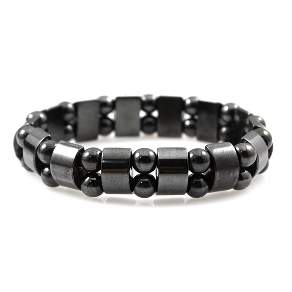 New-Hi Therapy Health Care Dual Layer Strand Beaded Fashion Bracelet Black Natural Hematite Stone Beads Magnetic Bracelet by New-Hi (Image #1)