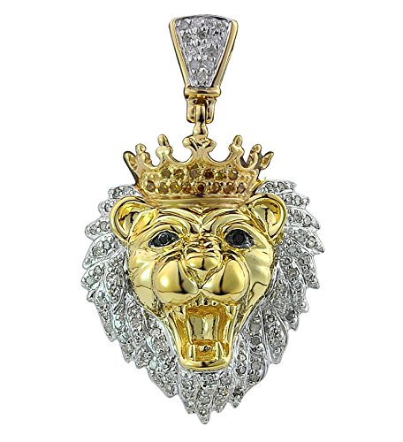 14kt Yellow Gold Mens Round Diamond Lion Head Animal Charm Pendant 0.34 Cttw (I1-I2 clarity; G-H color) 14kt Gold Diamond Cut Charm