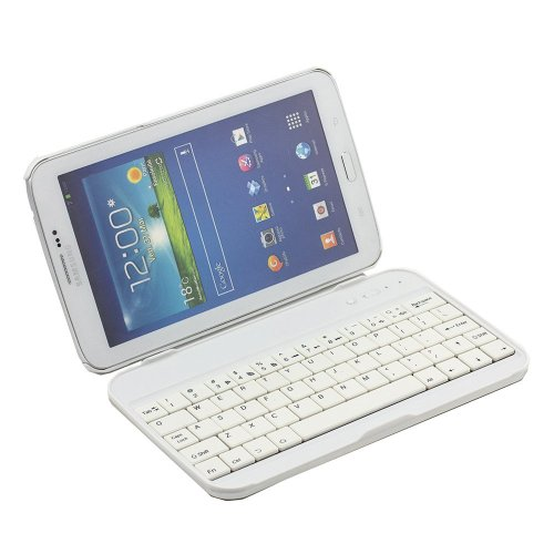 Cooper Cases(TM) Wordsmith Samsung Galaxy Tab 3 7.0 (P3200/P3210/T210/T211) Bluetooth Keyboard Case in White (Removable Protective Shell Cover, Built-in Kickstand, English QWERTY Keyboard, 61 Laptop Keys, 55 Hour Battery)