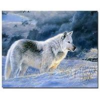Yangll Dipinto Ad Olio Dipinto By Numbers Fai Da Te Digital Picture Disegno Colorare Con I Numeri Su Tela Pittura Da Parete Paesaggio Lonely Wolf, No Incorniciato 40X50cm