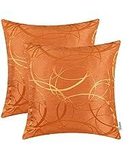Set van 2 CaliTime Kussenhoezen Sierkussen Gevallen Schelpen voor Bank Sofa Woondecoratie Modern Glanzend & Dof Contrast Cirkels Ringen Geometrisch 40cm x 40cm Bright Oranje