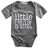 little brother big brother - April Li Toddler/Newborn Boys Shirt Big Brother T-Shirt & Little Brother Romper Outfits Set Clothes (70(0-3M), Little Brother Grey)