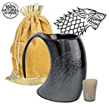 MentHome [Sold by ANF] - Game of Thrones - Genuine Viking Drinking Horn Mug - 100% Authentic Horn Tankard, | 20 Oz. Capacity | With FREE Horn Shot Glass and Golden Gift Bag