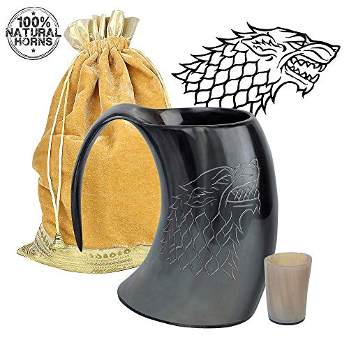 MentHome [Sold by ANF] - Game of Thrones - Genuine Viking Drinking Horn Mug - 100% Authentic Horn Tankard, | 20 Oz. Capacity | With FREE Horn Shot Glass and Golden Gift Bag ()