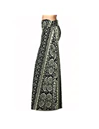 HANYI Women'S Poly Span Floral Prints Bohemia Maxi Skirt- Artwork Patterns