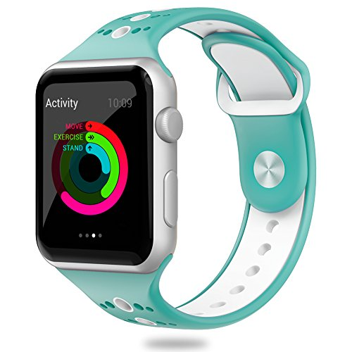 Comppatible for Apple Watch Band 38mm Valband Soft Silicone Sport Band Strap Replacement iWatch Bands for Apple Watch Nike Series 3,Series 2,Series 1 (38mm, Celeste/White)