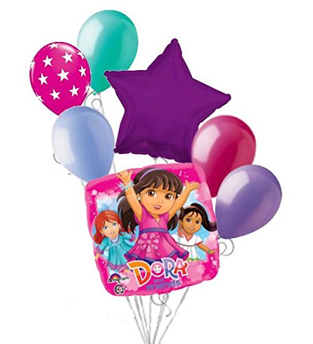 (7 pc Dora and Friends Into the City Balloon Bouquet Happy Birthday)