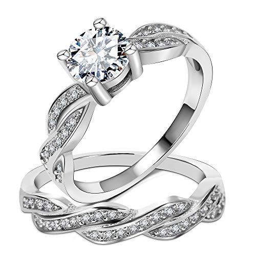Cut Prong Style Engagement Princess - 3UMeter 925 Sterling Silver Bridal Set - 2 Pieces Princess Cut Cubic Zirconia Swirl Infinity Stacking Style Engagement Ring Bridal Set for Women Size 8