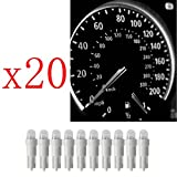 Ancdream 20Pcs 12v 1.2w T5 5mm Super Bright White LED Wedge Car Dashboard Speedo Bulb 286