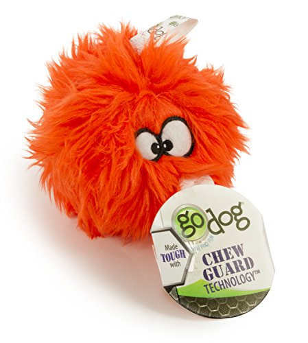 goDog Furballz Tough Plush Dog Toy with Chew Guard Technology, Orange, Small -
