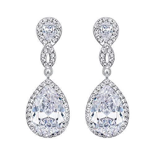 (EVER FAITH Zircon Austrian Crystal Wedding 8-Shape Pierced Dangle Earrings Clear Silver-Tone)