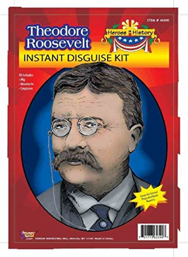 Child Heroes in History Instant Disguise Kit - Theodore Roosevelt - Wig, Moustache, and - Glasses Theodore