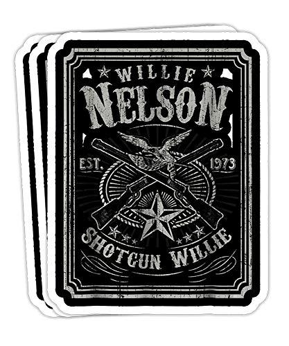 Peach Poem Mens Willie Nelson - Retro Shotgun Willie- 4x3 Vinyl Stickers, Laptop Decal, Water Bottle Sticker (Set of 3)