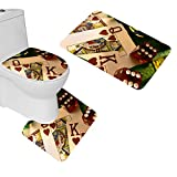 oFloral 3 Pieces Bathroom Rugs Set Home Decorative Poker Bath Mat,One Contour Rug and One Toilet Lid Cover