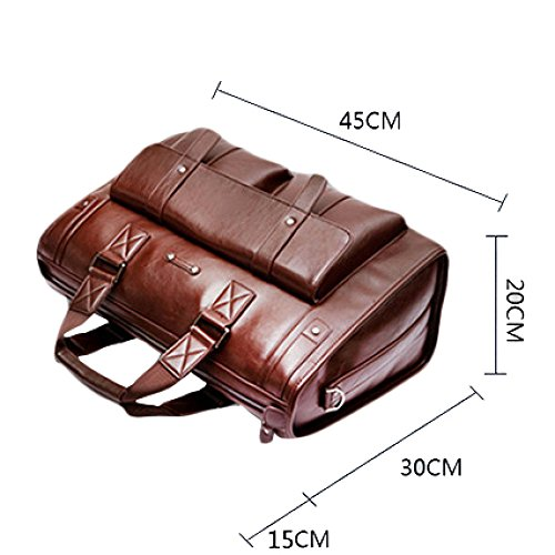 RENHONG Männer Retro Braun Schwarz Rot Leder Aktentasche Schultertasche Umhängetasche Business Casual Office College Laptop Notebooktasche Groß A pBcOJAFDbD