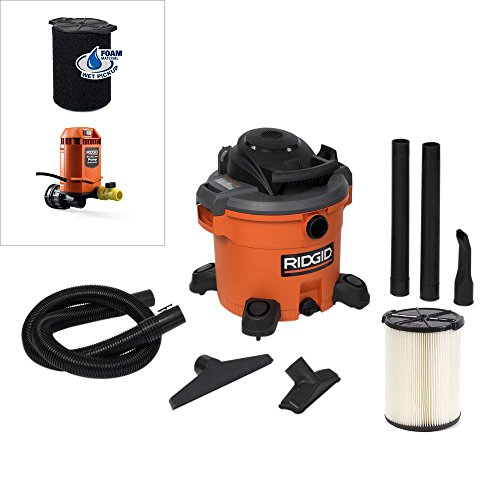 RIDGID 12 Gal. 5.0-Peak HP Wet Dry Vac with Pump Attachment and Wet (Wet Vacuum Pump)