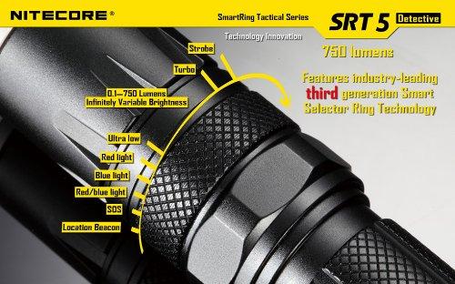 BUNDLE: NITECORE SRT5 Detective Cree XM-L2 LED 750 Lumen SmartRing Tactical Flashlighght (Black) Combo with 1 x EagleTac 3400mAh 18650 Battery, Nitecore i2 Intellicharger, Intelicharger Car Adapter, and LightJunction LED Keychain light