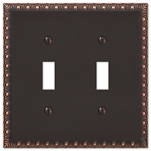 Renaissance Dark Bronze Wall - Amerelle Egg & Dart Double Toggle Cast Metal Wallplate in Aged Bronze