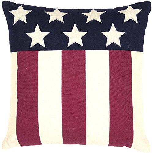 VHC Brands Seasonal Americana Pillows Throws – Modern American Flag Red 18 x 18 Pillow