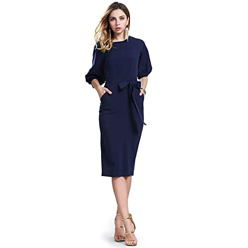 RedLife Womens Half Sleeve O-Neck Navy Office Party Bodycon Wear To Work Dress