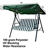 Heavy Duty Green Polyester Fabric 5½' 66-in by 45-in Outdoor Patio Swing Canopy Replacement Top Cover UV Block Sun Shade Waterproof for Porch Furniture Seat