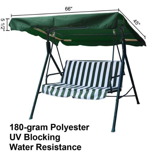 Mediterranean Patio Furniture - Heavy Duty Green Polyester Fabric 5½' 66-in by 45-in Outdoor Patio Swing Canopy Replacement Top Cover UV Block Sun Shade Waterproof for Porch Furniture Seat