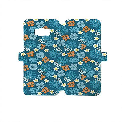 Premium PU Leather Magnetic Flip Folio Protective Sleeve for Samsung Galaxy S8,Luau,Tropical Plants Pattern with Swiss Cheese Plants and Exotic Flowers Growth Image,Blue Marigold