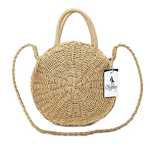 Olyphy Round Straw Shoulder Bag for Women, Weave Crossbody Bag Top Handle Handbag Summer Beach Purse